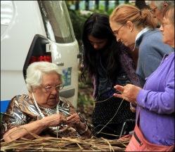 Aunty Dot Peters demonstrates basket weaving