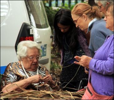 Aunty Dot Peters demonstrates basket weaving