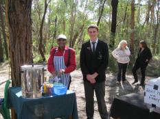 Uncle Herb and student volunteers at the refreshment stall