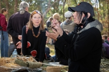 Judy Nicholson demonstrating Aboriginal handmade crafts