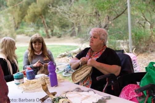Aunty Irene Norman demonstrating Aboriginal basket weaving