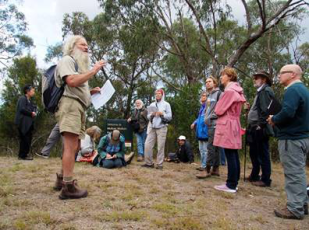 David Cameron's walk and talk about the conservation status of the Mullum Mullum Flora. Photo: Tess Holderness