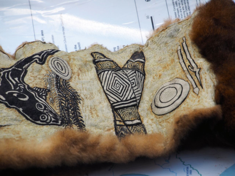 Etched cloak from Judy's Nicholson's Aboriginal craft display Photo: Tess Holderness